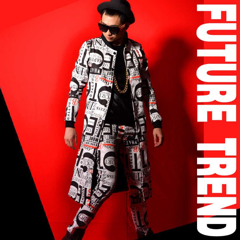 手紙印刷男性トレンチジャケット男性ファッションカジュアルスリムフィットロングトレンチコートのカスタムメイドステージショーの衣装