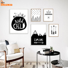 COLORFULBOY Arrow Explore Child Wall Art Print Canvas Painting Nordic Poster Black White Cartoon Pictures Kids Room Decor