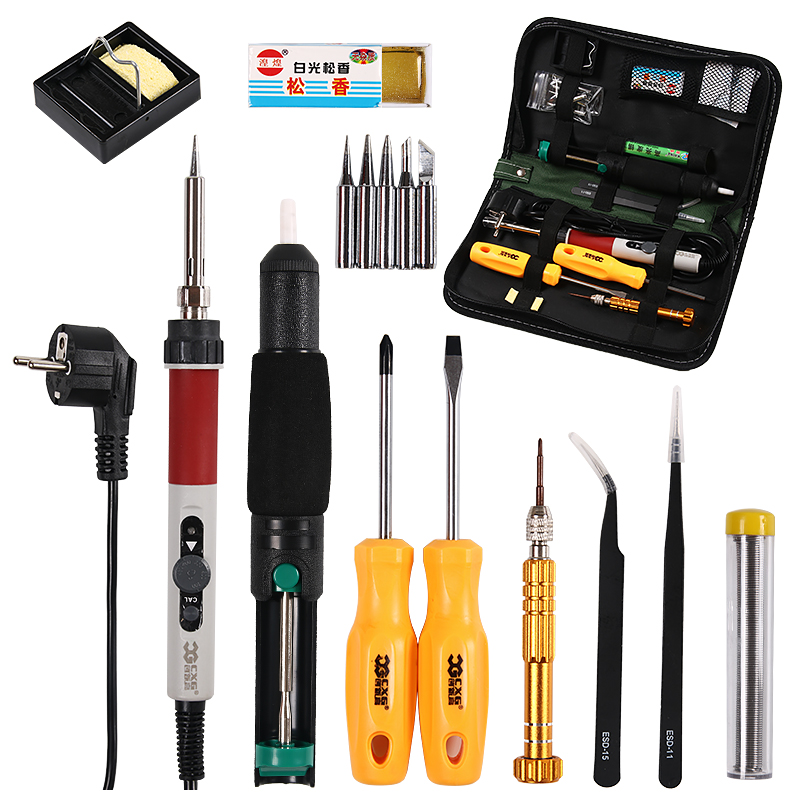 Soldering iron EU Plug 220V 70W Adjustable Temperature Electric Soldering Iron Kit+5pcs Tips Welding Repair Tweezers Hobby knife 220v 35w eu plug constant temperature 180c degree mini diy use electric iron 10x6x7cm