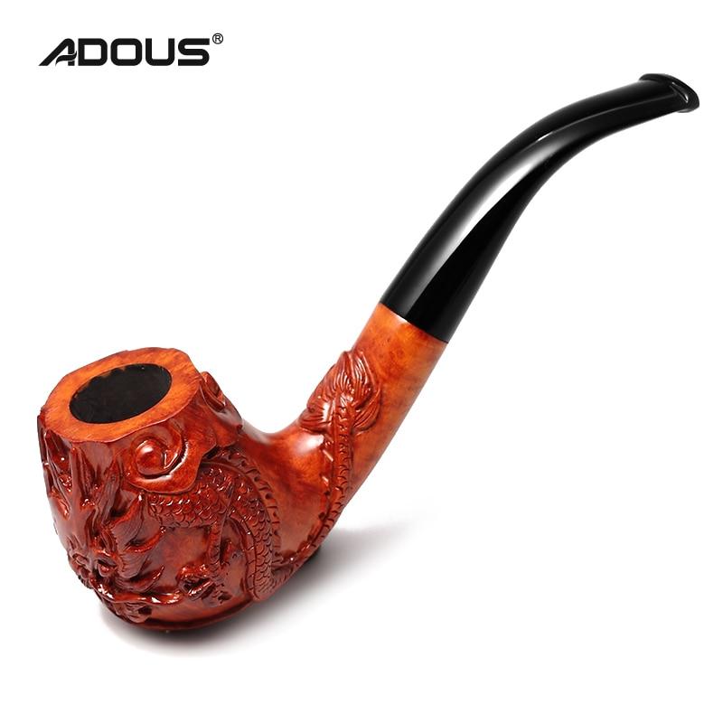 2020 nuevo Dragón chino ADOUS tallado a mano pipa de tabaco briar pipas curvadas 9MM - 2