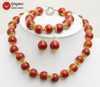 Qingmos Natural Red Coral Necklace for Women with 9 10mm Round Coral Earring & Necklace & Bracelet Jewelry Set nec6462 Free Ship