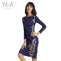 2016 Yilia New Women Elegant Dress Navy Blue Totems Print Printed Long Sleeve Midi Pencil Bodycon
