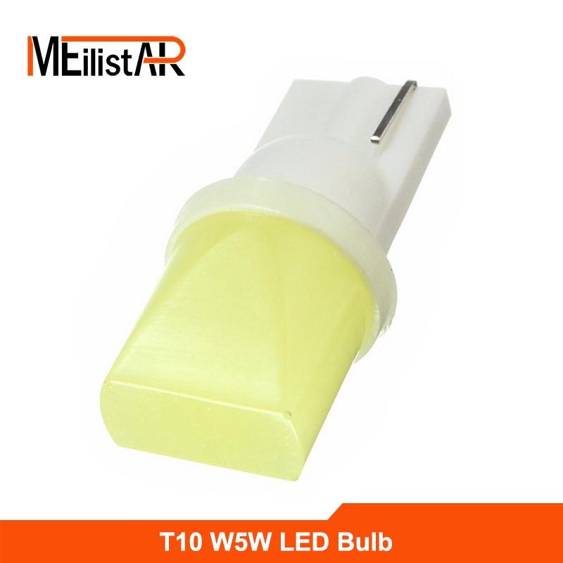 1pcs Car led 12V T10 cob 194 168 W5W 1.5W Ceramic Shell Super Bright White Car Auto Wedge Side License Plate Lights Lamp Bulb