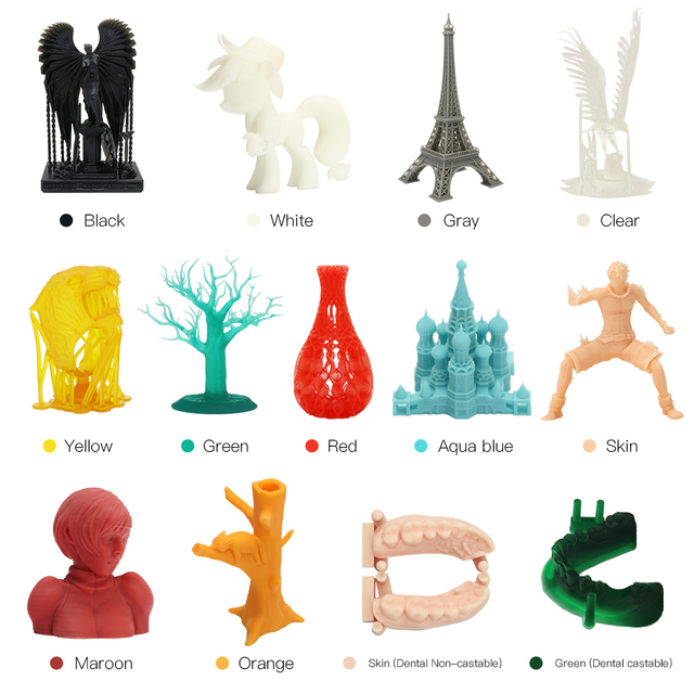 ANYCUBIC Printing Material 405nm Resin For Photon LCD UV Sensitive Normal 500 ml/1L Liquid 3D Printer 6 Colors Uv Resin