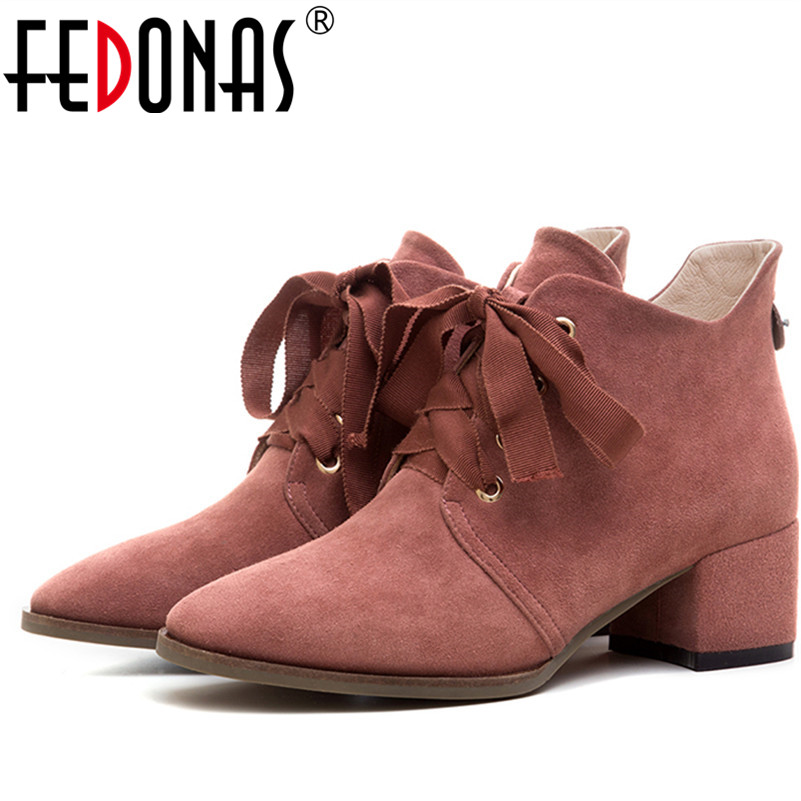 FEDONAS Top Quality Women Genuine Leather Autumn Winter Shoes Woman High Heeled Warm Ankle Boots Pointed Toe Motorcycle Boots lovexss woman genuine ankle boots autumn winter high heeled square toe cow leather woman work boots blue patchwork shoes