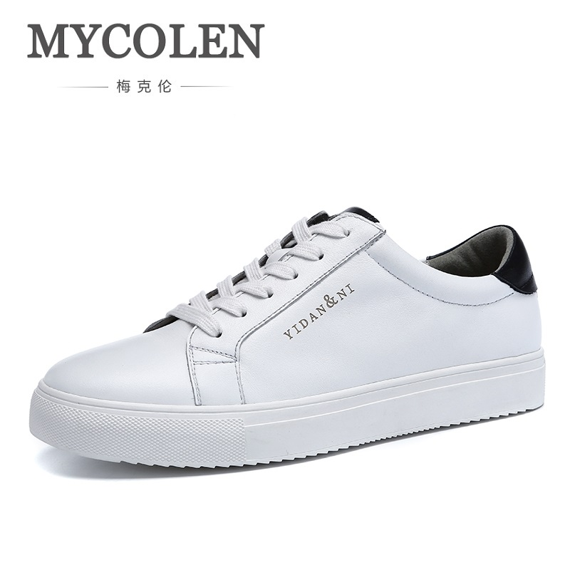 MYCOLEN 2018 Spring New Fashion Casual Men Shoes Leather Flat Black Outdoor Trend Men Shoes Zapatos Hombre Casual Cuero klywoo new white fasion shoes men casual shoes spring men driving shoes leather breathable comfortable lace up zapatos hombre