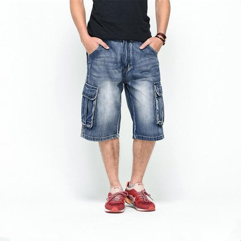 ABOORUN 2016 Mens Baggy Jeans Shorts Multi Pockets Washed Denim Shorts Hip Hop Loose Skatboard Shorts P1010