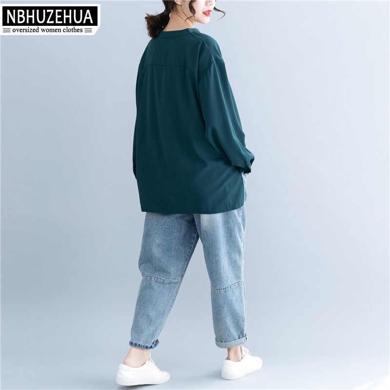 NBHUZEHUA Женские топы и блузки 2019 свободная офисная блуза женская с длинным рукавом V образным вырезом Ретро шифоновая рубашка Большой размер 5XL 19-A29