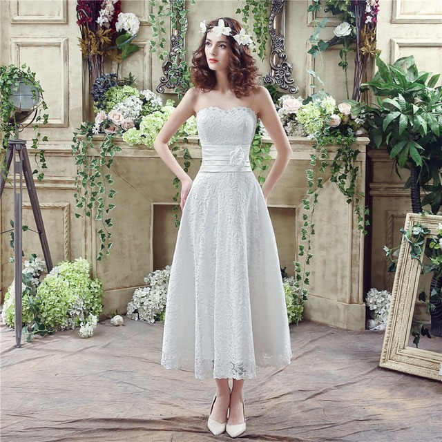 In Stock 100 Real Pic Simple Elegant Wedding Dresses A Line Mid