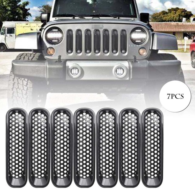Front Insert Mesh Grille Grill Trim Kit for Jeep Wrangler JK 2007-2017 Black ABS Plastic Automobile Spare Parts Accessories
