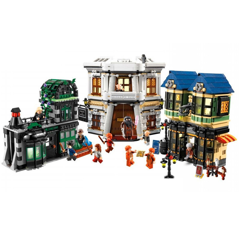 Hogwarts Harry Castle Diagon Alley Building Blocks Kit Bricks Classic Potter Movie City Model Kids Toys Gift Compatible Legoings movie series king castle battle siege set model building block bricks toys compatible legoings city castle 7094