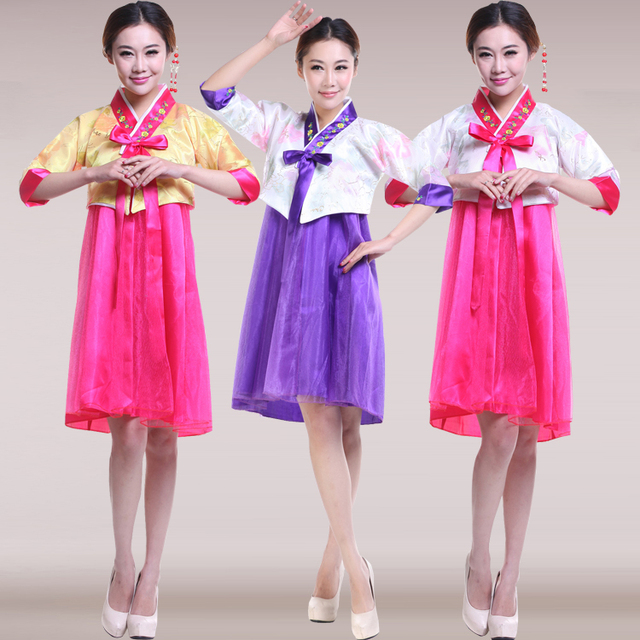 c61b8663fd59 Women Korean Dress Summer Short Sleeve Korean Traditional Costume ...