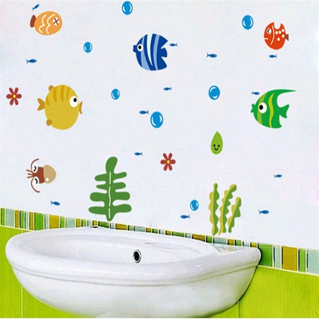 Wall Stickers Baby Room Stickers in the Bathroom Fish Underwater World Wall Sticker Decoration for Children Kid's Room 44*25cm