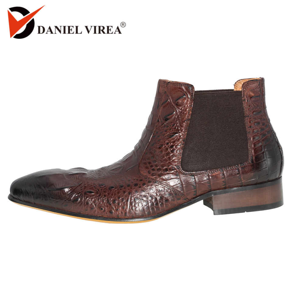 Genuine Leather chelsea boots men fashion alligator print Pointed Toe ankle dress shoes