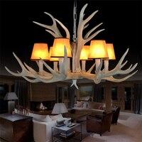 Antique Resin Antler Chandeliers American Pastoral Deer Fabric Resin Antler Lamp Restaurant Hotel