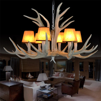Antique Resin Antler Chandeliers American Pastoral Deer Fabric Resin Antler Lamp Restaurant Hotel