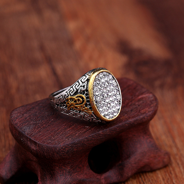 New Design Vintage Ethnic Antique Muslim Finger Big Width Alloy Silver Men Islam Ring Jewelry