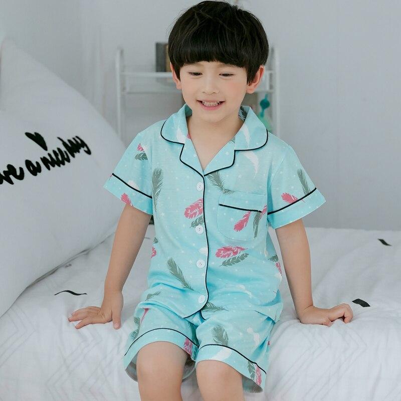 Children's Day Gift 2019 Summer 100% Cotton Girls   Pajamas     Set   Boys Cartoon Homewear Kids Short Sleeve Cloth Baby Pyjama   Set   Top