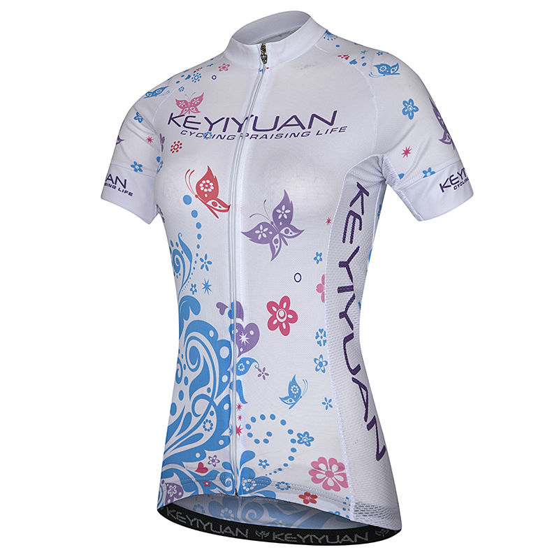 KEYIYUAN Women Cycling Jersey Cycling Short Sleeve Bicycle Breathable Summer Clothing Riding Tops