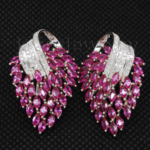 Festival Solid 18kt White Gold Diamond Pink Ruby Earrings E00153a