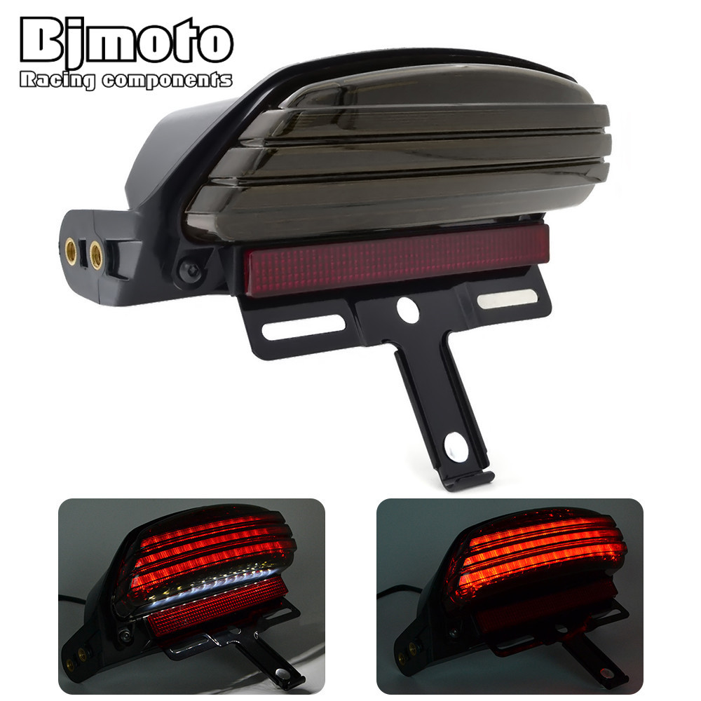 Motorcycle Fender License Plate Smoke Tri-Bar Fender LED Tail Light with Bracket For Harley Dyna Fat Bob FXDF 08 Up