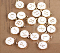 DIY 26 Characters Drop Of Oil Alloy Small Pendant Bracelet Pendants Fittings White Letters Of The