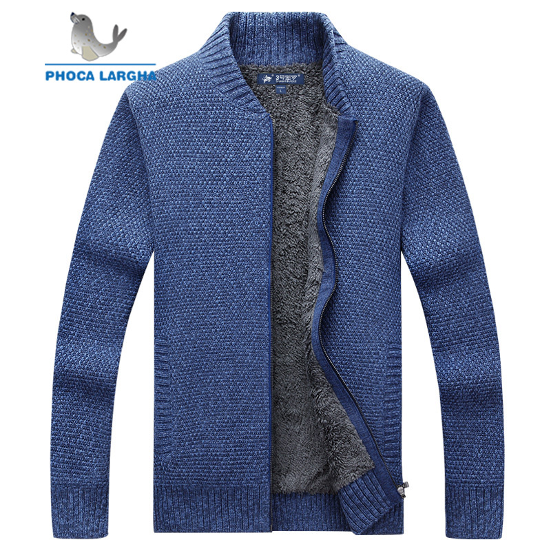 Men's Cardigans Sweaters Male Thick Wool Slim Fleece Knitwear Warm Stand Collar Sweatercoat Man Business Solid Color Sweater