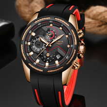 цена на LIGE Men Sports Watch Chronograph Silicone Strap Quartz Army Military Watches Clock Men Top Brand Luxury Male Relogio Masculino