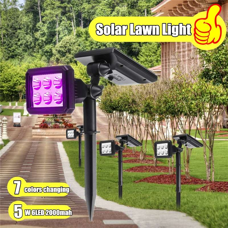 RGB Color Changing Lawn Lamps Spot Light Solar Powered Outdoor Solar Path Lights Ip65 For Garden Landscape Lighting With Battery