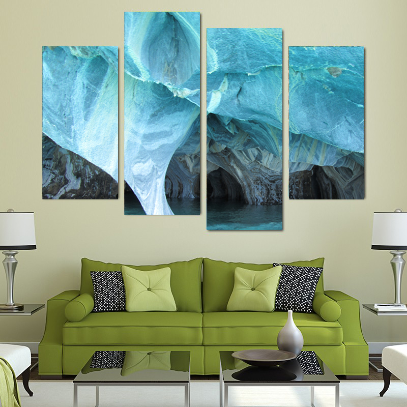 canvas prints for living room floor tiles 4 pieces art painting modern marble turquoise wall picture home decor