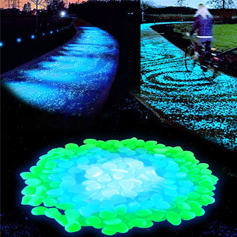 100pcs/lot Garden Supplies Stone Glow In The Dark Luminous Pebbles Rocks For Walkways Fish Tank Decorations