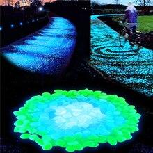 100 pçs/lote fontes do jardim pedra brilho no escuro luminosa seixos rochas para passarelas decorações do tanque de peixes