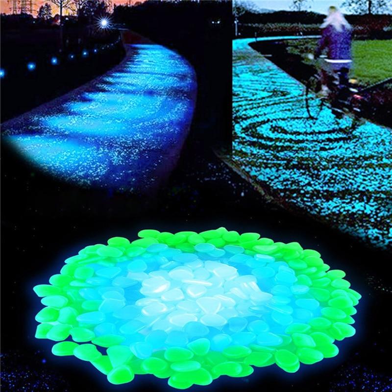 100 pcs/lot Garten liefert Stein Glow in The Dark Luminous Kiesel Felsen für Gehwege Aquarium Dekorationen