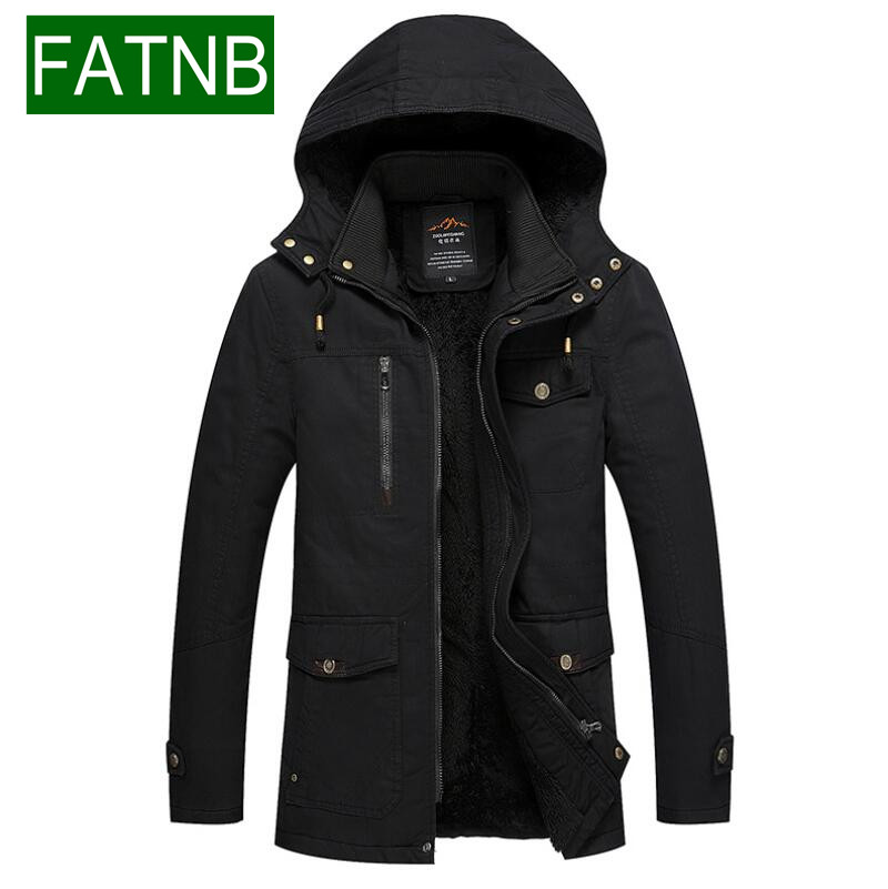 ФОТО Brand Snow Parkas Winter Hooded Jackets and Coats  2016 Mens 100% Cotton Slim Fit Warm Thick Fur Men Clothing Military Jacket