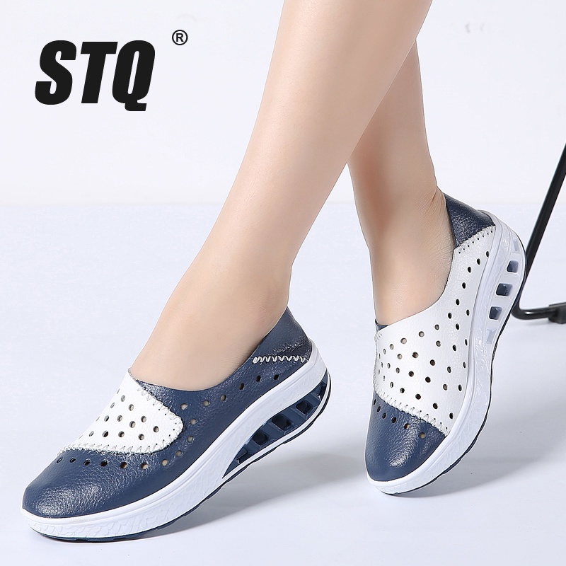 STQ 2020 Spring Women Genuine Leather Flats Women Platform Sneakers Creepers Cutouts Slip On Flats Moccasins Shoes Woman 7687