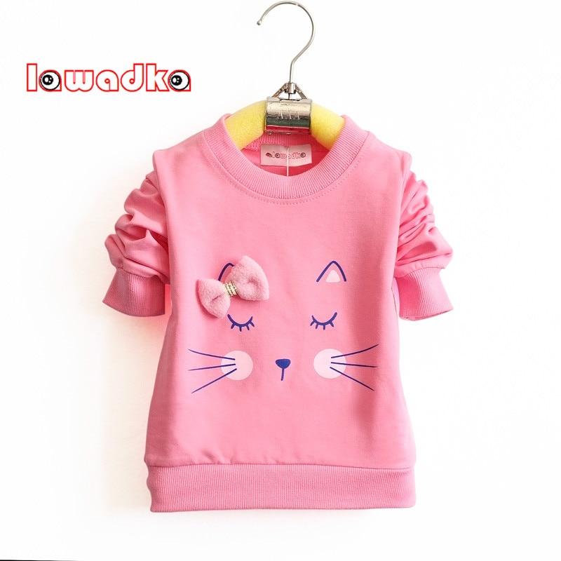 Lawadka Cartoon Cat Baby Girls T-shirt Long Sleeve Band Sport T Shirts for Girls Cotton Children Clothes