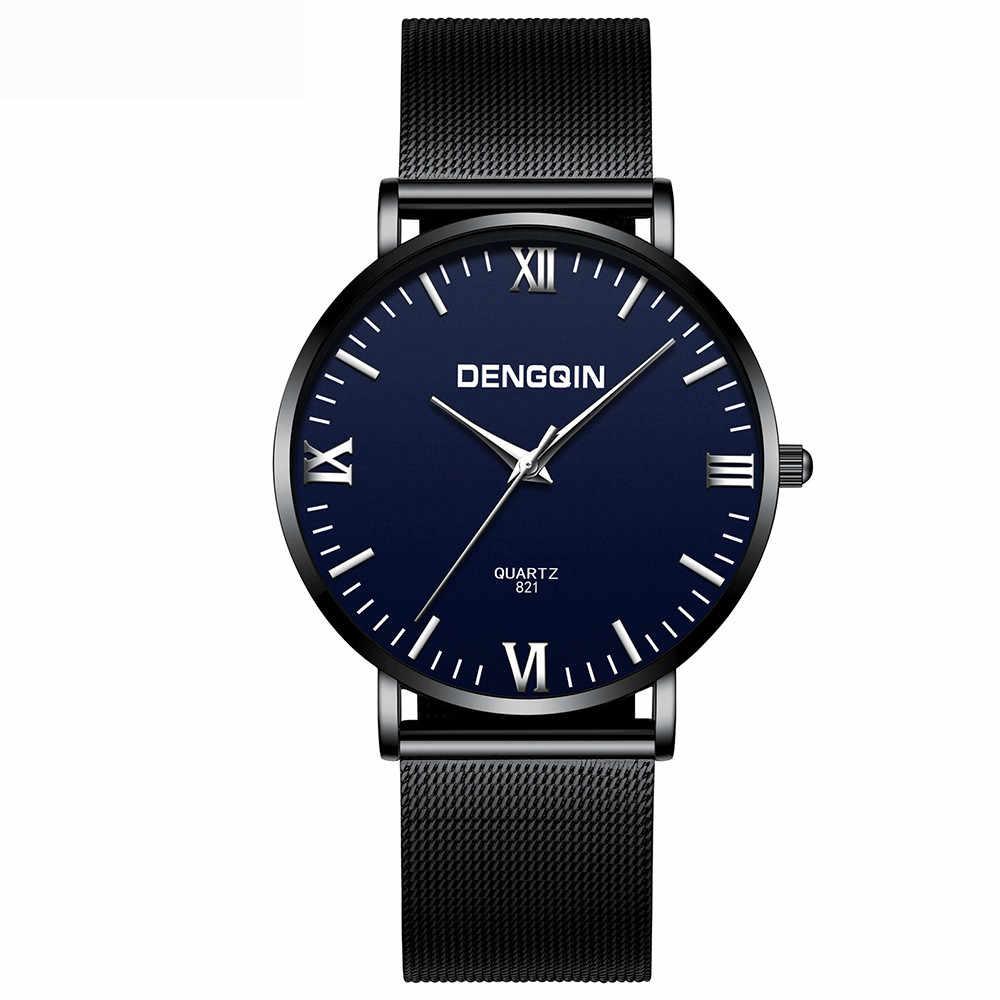 Relojes de fecha de cuarzo de marca de lujo reloj de pulsera de acero inoxidable para hombre reloj