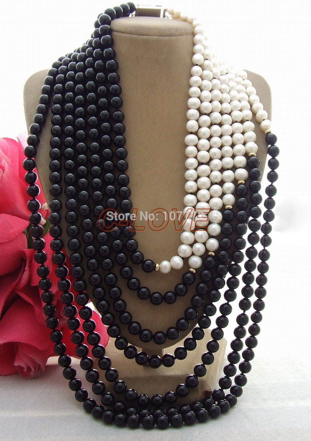 Hand Made Semi Stone Charming! 7 strands Pearl&Onyx Necklace free shipment