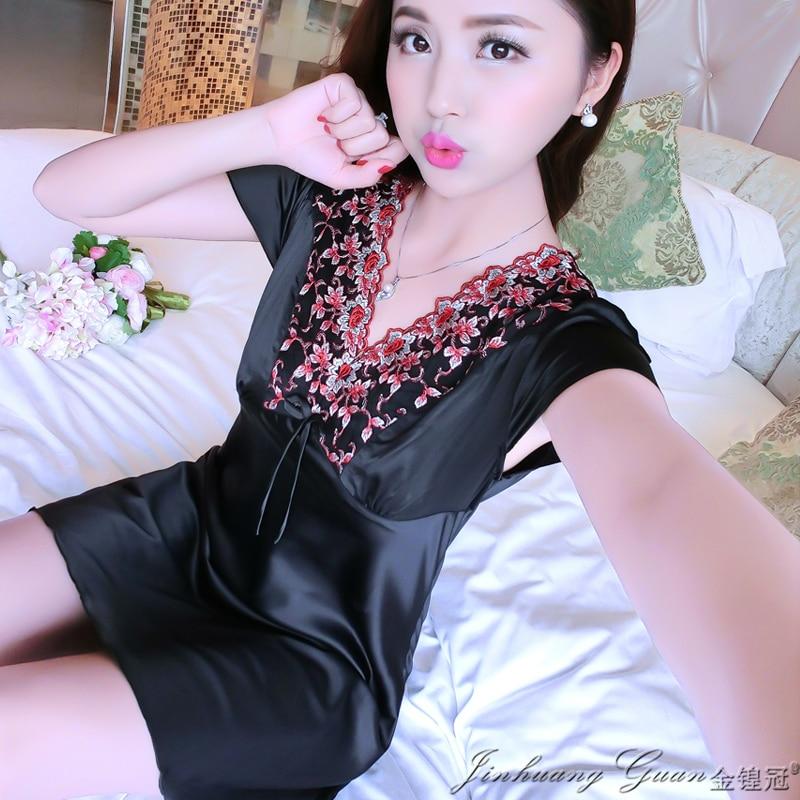 2017 Summer Fashion Suspender Night Dress Women Deep V Silk Sleepwear Shirts Robes