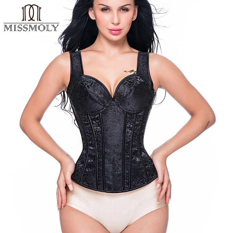 Women Steampunk Steel Boned Zipper Back Sexy Body   Bustier   Overbust   Corset   Women Waist Cincher   Corsets   Black Plus Size S-6XL