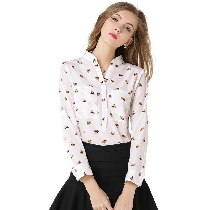 Nueva Moda Gasa de Las Mujeres Camisa de Moda Collar de Perro de Impresión de M