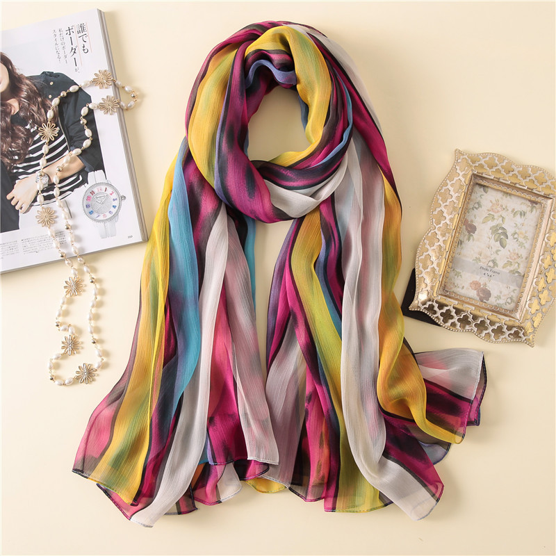 2019 New Style Brand Spring Summer Scarves For Women Silk Shawls And Wraps Fashion Print Soft Large Pashmina Beach Stoles