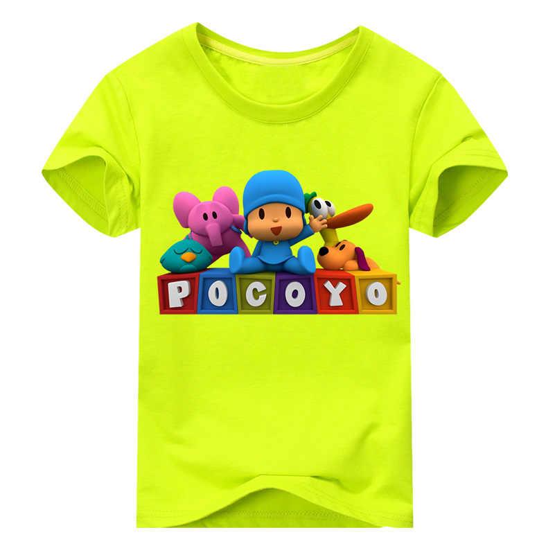 Menino Verão Nova Impressão Tee Encabeça Roupas Crianças Dos Desenhos Animados Pocoyo Branco O-pescoço T-shirt Roupas Para Crianças 3D Camisa Engraçada de T DX041