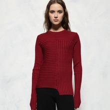 women's autumn winter high quality runway fashion wool knitted thick basic slim skinny stretch pullover jumper sweater dark red
