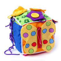 Bébé Jouet Éducatif 13-24 Mois Bébé Apprentissage Montessori Jouet Tissu Apprendre À Robe Cube En Peluche Hochet Éducation En Bas Âge jouets
