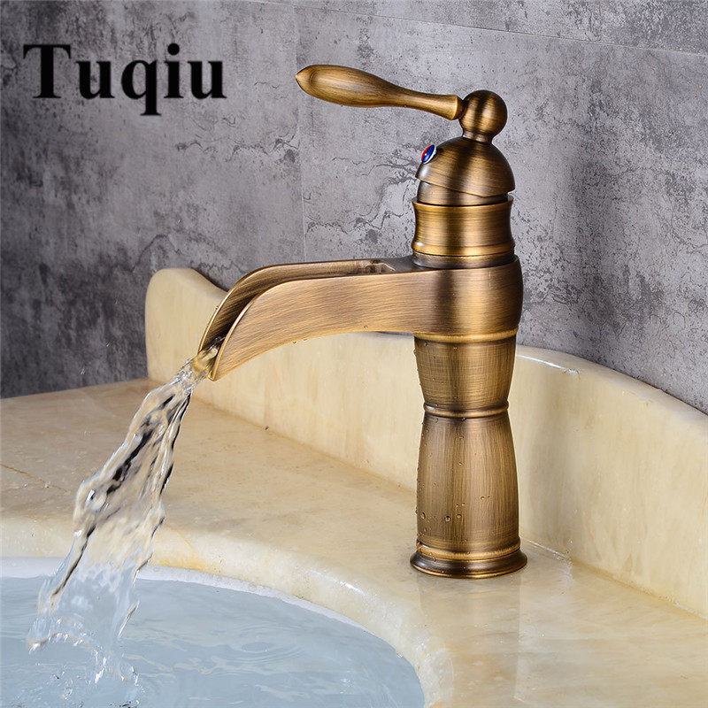 Antique Bronze Waterfall Bathroom Faucet Bathroom Basin Mixer Tap with Hot and Cold Water Black Brushed Water MixerAntique Bronze Waterfall Bathroom Faucet Bathroom Basin Mixer Tap with Hot and Cold Water Black Brushed Water Mixer