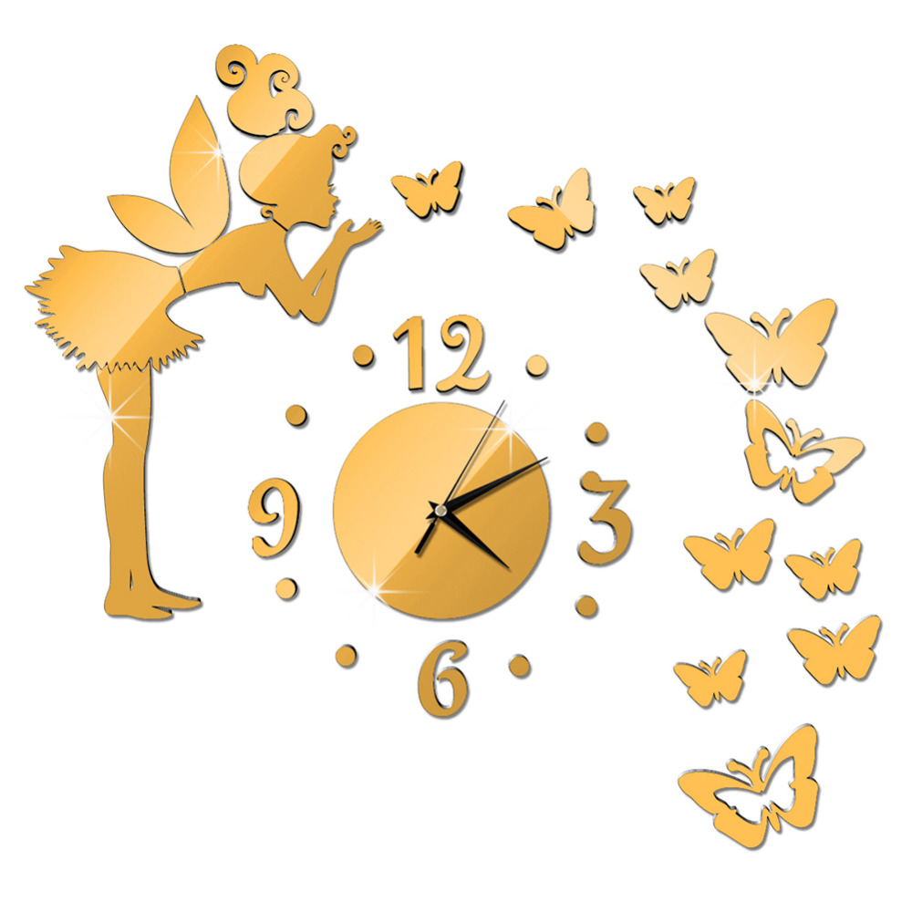 ღ Ƹ̵̡Ӝ̵̨̄Ʒ ღWandafull Angel Butterfly Modern Design Mirror Clock ...