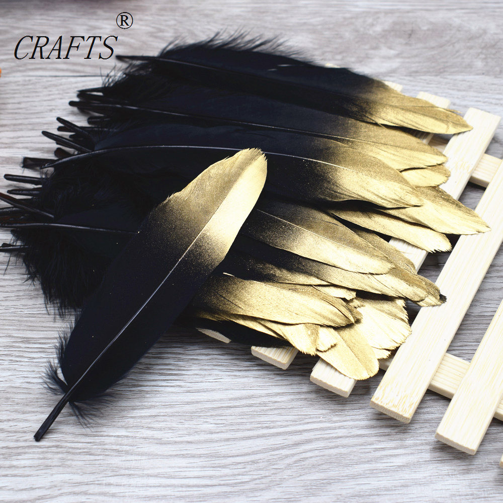 20 pieces of 15-20cm beautiful black gold goose feather DIY jewelry decorative accessories