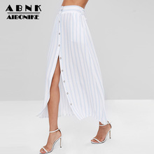 AIBONIKE Blue And White Striped Skirt Women Fashion Summer Long Skirt Ankle-Length High Waist Button Skirt Womens Clothing