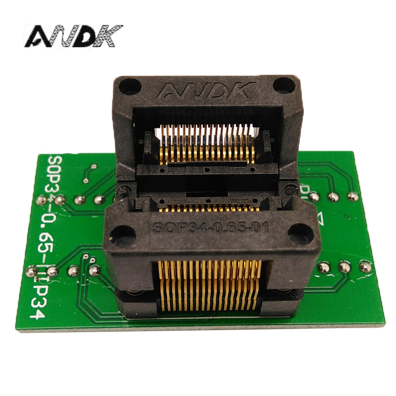 SSOP34 TSSOP34 To DIP34 Programming Socket Pitch 0.65mm IC Body Width 5.3-5.7mm 208mil - 224mil OTS-34-0.65-01 Adapter